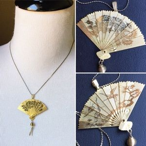 Vintage Japanese double sided golden fan necklace